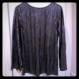 Susan Graver silver blouse with bell sleeves XXS